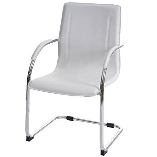 Mendler Esszimmerstuhl Samara, Freischwinger Küchenstuhl Lehnstuhl Stuhl, PVC Stahl - weiß