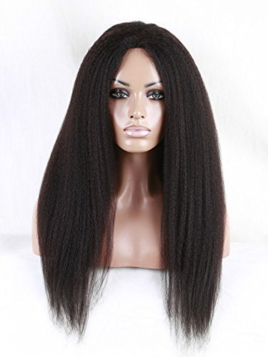 DLW Italian Yaki Lace Front Human Hair Wigs for Black Women Brazilian Remy Hair Glueless Lace Wig with Baby Hair Natural Color 130 Density 14inch