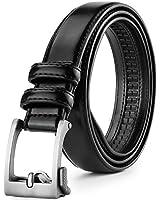 Belts for Men Ratchet, Leather Belt with Automatic Slide Buckle, 1 1/4
