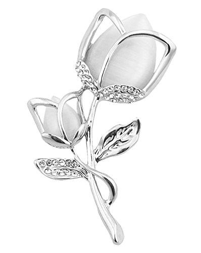 FENGJI Tulip Flowers Gold and Silver Plated Rhinestone Brooch Pin for Women Ladies Festival Gift (White,Hot Pink) Silver White