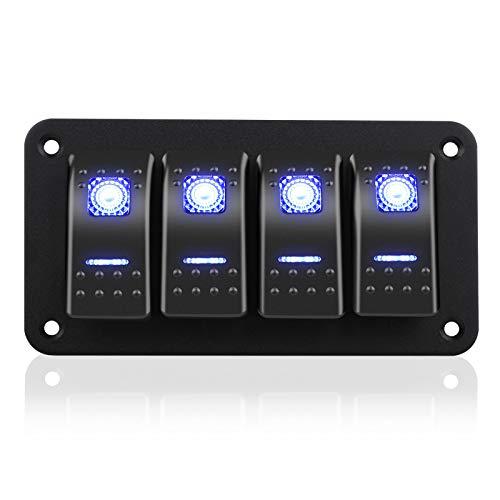 EEEKit 4 Gang Rocker Switch Panel, Interruptores de Palanca de Encendido/Apagado Impermeables de 5 Pines 12V / 24V con luz LED Azul para RV Marine Boat Car Vehicles Truck