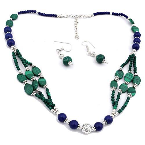 Juego de pendientes de collares tribales con cuentas de lapislázuli verde y MALAQUITA, 18 'de largo, chapado en plata de ley, joyería artística hecha a mano, tienda de variedad completa