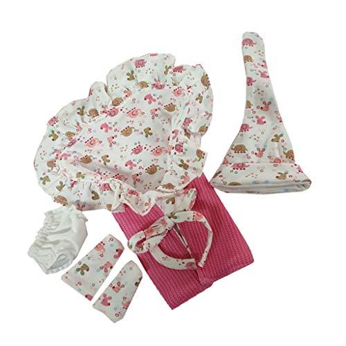 P Prettyia Fashion Ropa de Cama con Gorro Accesorios para Muñecas Bebés Renacidas 10-11 Pulgadas - Rosado