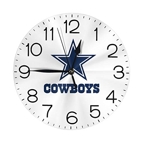 Art Decorative Wall Clock Silent Round Digital Wall Clock Battery 10 Inch Dal-Las Cowboy-Star 3D Print Clock for Home/Office/School