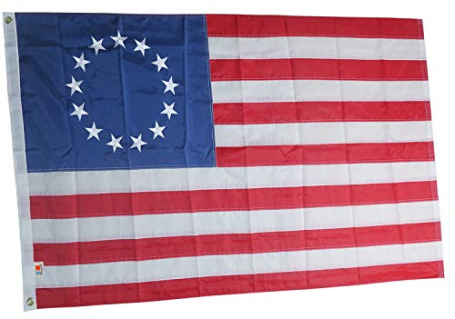rhungift Premium Betsy Ross Flag 3x5Ft,Embroidered 13 Stars and Sewn Stripes Longest Lasting Oxford Nylon 210D USA American 13 Stars Flag- Quadruple Stitched Fly Ends| United States Historical Flag
