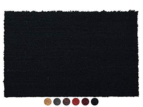 Primaflor - Ideen in Textil Kokosmatte Fußabtreter rutschfest - Schwarz, 40 x 60 cm, 17mm Höhe, Fußmatte Kokos Fußabtreter rutschfest Haustür Innen & Außen, Sauberlauf