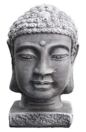 Tiefes Kunsthandwerk Buddha Kopf groß - Schiefergrau, Garten, Deko, Figur, Stein, Statue, Frostsicher