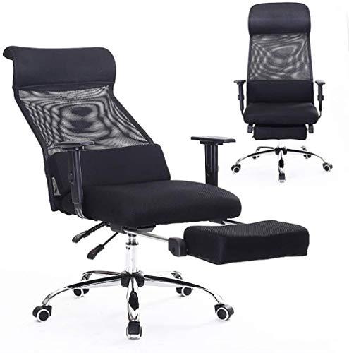 HZYDD Ergonomischer Computerstuhl Home Office Swivel-Stuhl Komfort Nickerchen Liegestuhl-Stuhl-Stuhl, Schwarz, Schwarz, Farbname: Schwarz (Color : Black)
