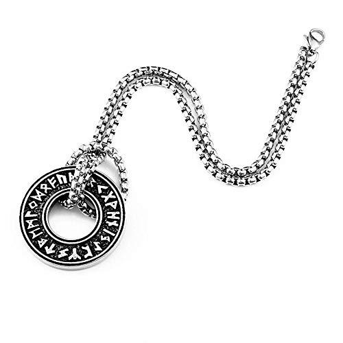 CLEARNICE Collar de Hombre 316L Acero Inoxidable Vikingo Islandés Vegvisir Casco Horror En Círculo Rónico Colgante Mágico Staves Hombres Runa Amuleto Lp105