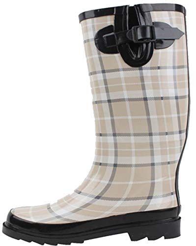 G4U Women's Rain Boots Multiple Styles Color Mid Calf Wellies Buckle Fashion Rubber Knee High Snow Shoes (8 B(M) US, Beige Plaid-1)