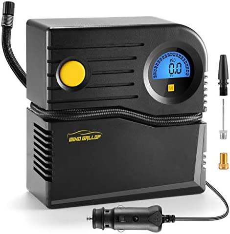 WindGallop Small Portable Air Compressor Tire Inflator with Pressure Gauge Car Tire Pump 12V product image