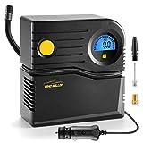 WindGallop Mini Compressore Portatile per Auto Compressore 12V Professionale Gonfiatore Digitale per Pneumatici per Auto Pompa Aria Auto con Manometro per Pneumatici e Adattatori per Valvole (Blu)