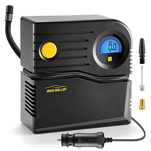 WindGallop Luftkompressor Mini Kompressor Auto Luftpumpe 12v Kompressor Fahrrad Elektrisch Autokompressor Autoreifen Pumpe Digitaler Reifenfüller mit Reifendruckmesser und Ventiladaptern(Blau)