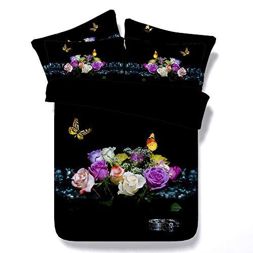 Sticker superb Housse de Couette avec Taie d'oreiller, Romantique Fleurs Housse de Literie, Dame Fille Quatre Saisons Nettoyage Facile Noir Ensemble de Literie (Rose Fleur 2, 150x200cm)