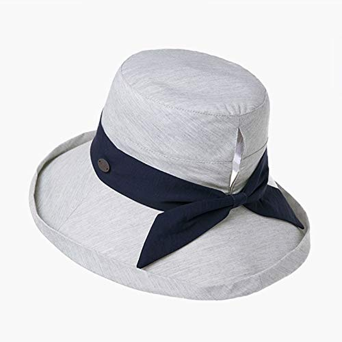 Vinteen Sombrero de Sol de Verano Femenino versión Coreana Tide Travel Sombrero de Pescador Anti-UV Big Edge Gorra de Sol Fold Visor Ponytail Hat Cap Bow