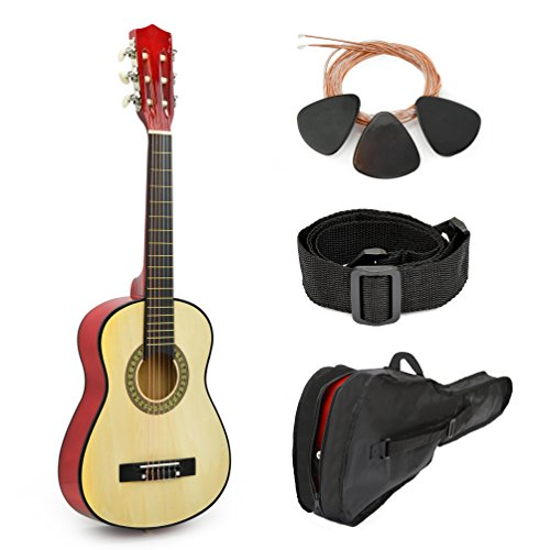 Natural Wood Guitar With Case and Accessories for Kids/Boys/Beginners (30
