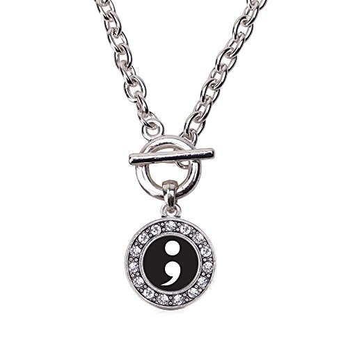 Inspired Silver - Semicolon Movement Toggle Charm Necklace for Women - Silver Circle Charm 18 Inch Necklace with Cubic Zirconia Jewelry