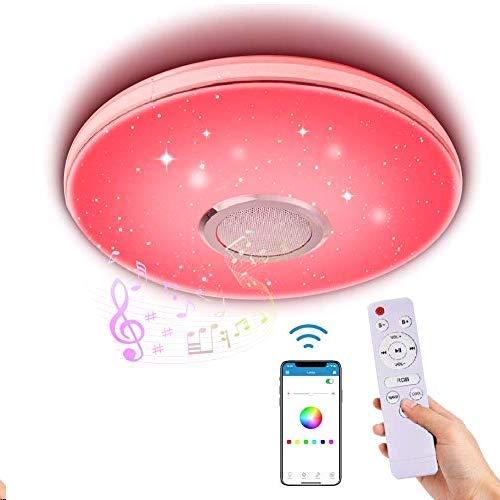 LED Deckenleuchte Dimmbar mit Bluetooth Lautsprecher,LACYIE 36W 3000-6500K RGB Deckenlampe mit Fernbedienung und APP-Steuerung IP44 LED Lampe für Badzimmer Schlafzimmer Kinderzimmer Wohnzimmer