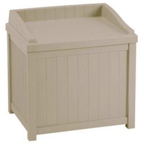 Suncast 22-Gallon Small Deck Box - Lightweight Resin Indoor/Outdoor Winter Storage Container and Seat for Ice Melt, Sand, Salt, Snow De-Icers - Store Items on Patio, Garage, Yard - Taupe