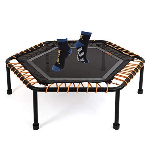 Ampel 24 Minitrampolin Hexagon, Fitness Trampolin mit Bungee-Seil-System, 6 verstellbare Elastobänder für den Härtegrad, belastbar bis 150 kg