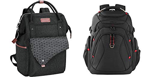 """KROSER 15.6"""" Stylish Laptop Backpack /17.3"""" XL Computer Backpack with Hard Shell Saferoom RFID Pockets and USB Charging PortWater-Repellent Daypack Laptop Bag for Men/Women"""