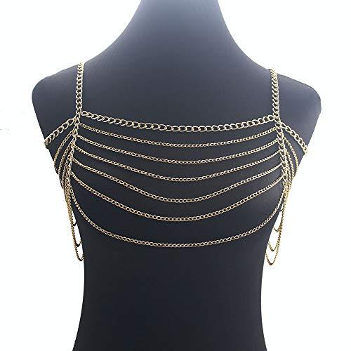 JIN YU MAN TANG Damen-Körperketten-Halsketten-Bikini-Strand-Körperketten-Anhänger-Pyjamas Mehrschichtige Kette