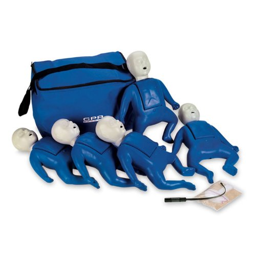 CPR Prompt (5 Pack) BLUE Infant Manikins w/50 Lung Bags, Nylon Carry Case & Tool - LF06050U