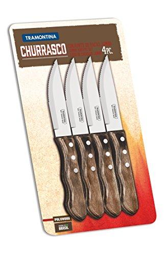 Tramontina Jumbo Steakmesser Set 4-teilig, Edelstahl, Holzgriff, FSC