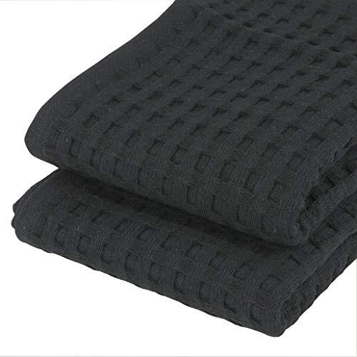 K&G 2er Set hochwertige Gäste-Handtücher Waffelpikee Schwarz | 100% Baumwolle | Saugstark & Edel | Handtuch | Qualitäts Frottier | Badetuch |
