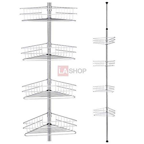 4-Tier Chrome Tension Bathroom Toilet Corner Shelf Bath Shower Caddy Pole Storage Rack Spa Tower Organizer Basket
