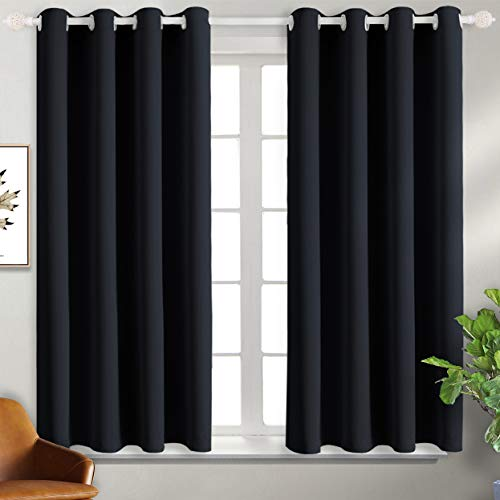 BGment Blackout Curtains for Living Room - Grommet Thermal Insulated Room Darkening Curtains for Bedroom, Set of 2 Panels (52 x 54 Inch, Black)
