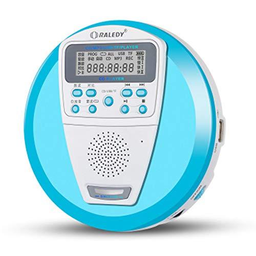 JYL Wiederaufladbarer tragbarer CD-Player für Audio-CDs und MP3-Laufwerke U Disk & TF Card mit integriertem Lautsprecher und Anti-Shock/ESP mit LCD-Display für Erwachsene, Studenten, Kinder,A