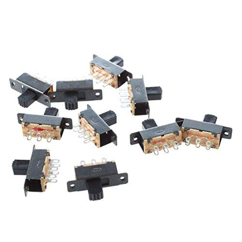 Cikuso 10 Pcs SS22F25-G7 2 Position DPDT 2P2T Montage Panneau Mini Interrupteur a Glissiere Solder Lug