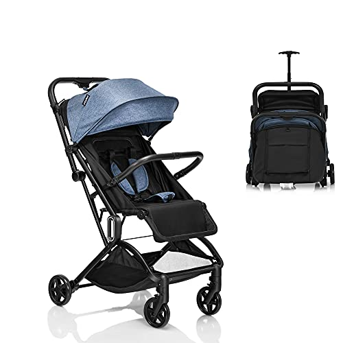 GYMAX Baby Stroller, Folding Baby Pushchair with 5-Point Safe Belt, Lockable Wheel, Adjustable Footrest, Canopy & Backrest, Travel Toddler Buggy for 0-3 Years Old (Blue and Grey)