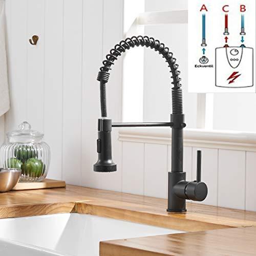 TIMACO Schwarz Niederdruck Armatur Für Küche 360° Drehbar Wasserhahn Küche Küchenarmatur Mit Brause Mischbatterie Küche Armatur Spiralfederarmatur