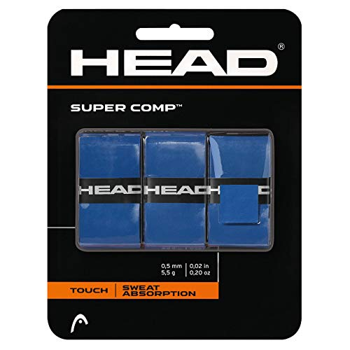 HEAD Super Comp Racquet Overgrip - Tennis Racket Grip Tape - 3-Pack, Black