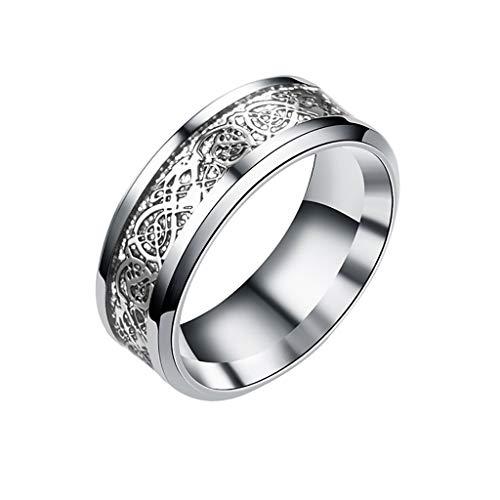 Detrade Unisex Europäischer und amerikanischer Drachenmusterring aus Gold und Silber Drachenstück Ring (D6)