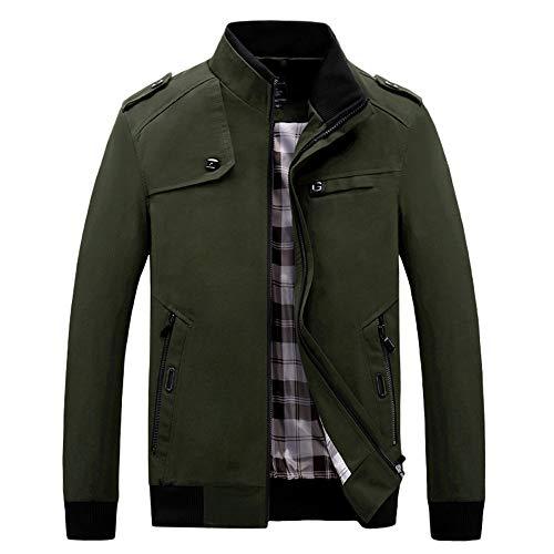 Zarupeng Mannen Werkjas, Winter Casual lange mouwen ritssluiting jas dunne militaire jas sweatjas met opstaande kraag top