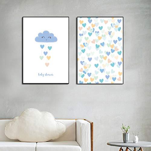 Impresiones de pintura en lienzo y póster para guardería, dibujos animados, ducha, arte de pared, imágenes, regalos para niños, imagen de habitación, decoración del hogar (50x70cm), 2 piezas con marco