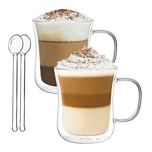 Vasos de Café de Doble Pared Juego de 2-300ml Tazas de Vidrio Borosilicato - Vasos de Café con Mango para Té, Latte, Leche, Cappuccino, Jugo - 2 Cuchara de Vidrio Gratis