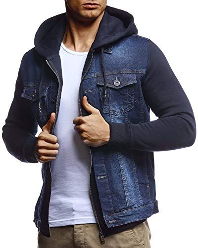 Leif Nelson Herren Jeansjacke schwarz Freizeitjacke Denim Vintage Jeans Jacke für Männer mit Kapuze Slim Fit Hoodie Kapuzenjacke verwaschen Casual Blau Large