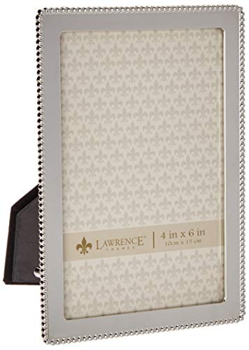 Lawrence Frames Metal Picture Frame with Delicate Outer Border of Beads, 4 by 6-Inch, Silver