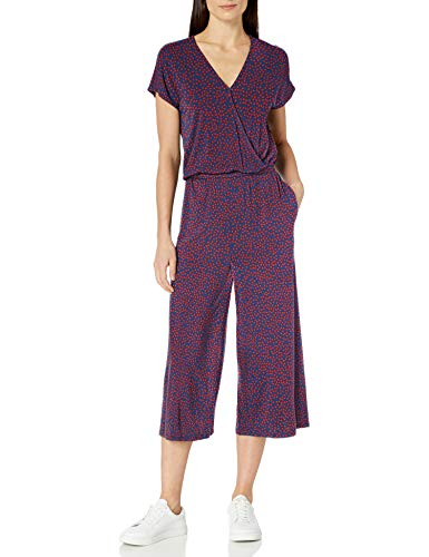 Amazon Essentials Short-Sleeve Surplice Cropped Jumpsuit Jumpsuits-Apparel, Punto Rojo Marino, 36-38