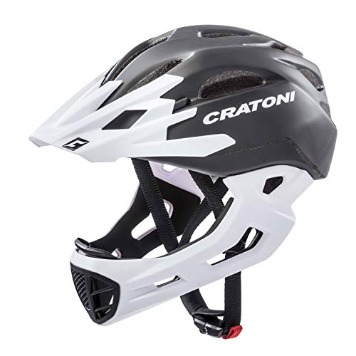 Cratoni Unisex– Erwachsene C-Maniac Fahrradhelm, schwarz/weiß matt, L/XL