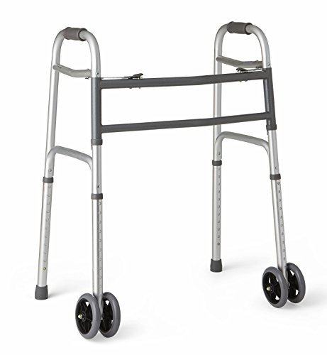 Medline Heavy Duty Bariatric Folding Walker with 5' Wheels with Durable Plastic Handles