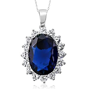 925 Sterling Silver Blue Simulated Sapphire Pendant Necklace