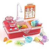 LIHAO Küchenzubehör Set Kinder Küchenspielzeug Spülbecken mit Zubehör Kinderwaschbecken Rollenspiel Mini Küche Spielküche als Geschenke für Jungen Mädchen (MEHRWEG)