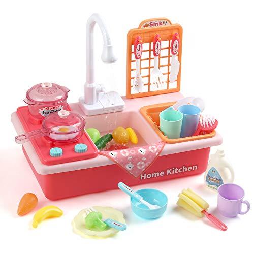 LIHAO Utensilios de Cocina Fregadero para Niños Lavaplatos Sistema de Agua Juguete de Imitación Regalo para Niños más de 3 Años