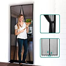 """Homitt Magnetic Screen Door with Heavy Duty Mesh Curtain and Full Frame Hook&Loop, Hands Free, Pet and Kid Friendly, 36"""" x 83"""", Black"""
