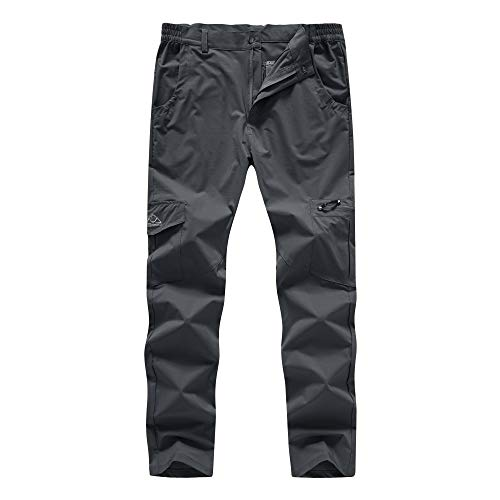 BASUDAM Men's Cargo Hiking Pants Quick Dry Lightweight Stretch Water Resistant Fishing Pants with Pockets Dark Grey 36